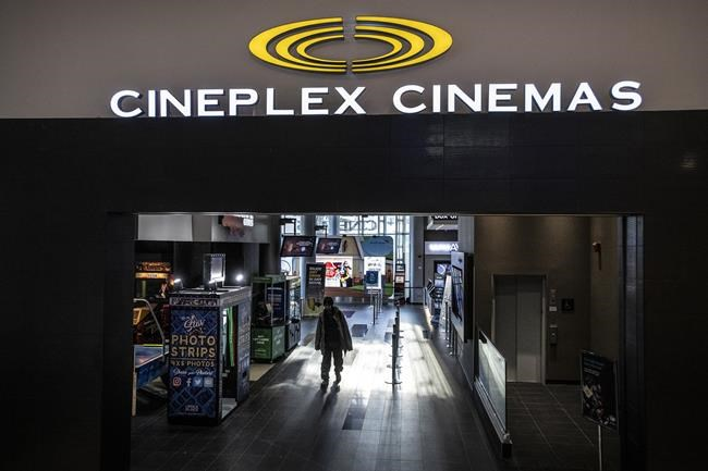 A Cineplex Theatre at Yonge and Eglinton in Toronto on Monday December 16, 2019. Cineplex says it's delaying the report of its first-quarter financial results as it focuses on the business impact of COVID-19. THE CANADIAN PRESS/Aaron Vincent Elkaim