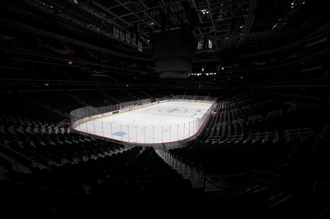 The Capital One Arena, home of the Washington Capitals NHL hockey club, sits empty Thursday, March 12, 2020, in Washington. Professional sports leagues in North America are getting deeper into conversations about when and how they can resume play during the COVID-19 pandemic. THE CANADIAN PRESS/AP, Nick Wass