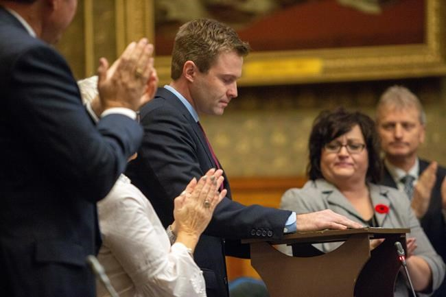 New Brunswick Premier Brian Gallant delivers his speech at the closure of the Throne Speech at the New Brunswick Legislature in Fredericton on Friday, Nov. 2, 2018. THE CANADIAN PRESS/James West