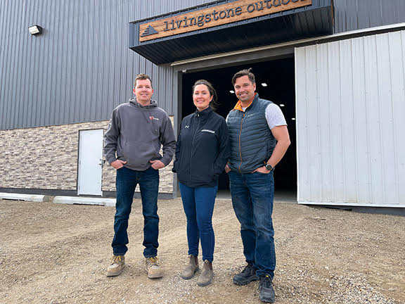 Livingstone Outdoor co-owners Josh Berg, left, Michelle Berg, center, & Matt Berg, right have opened their retail space for customers at 1610 Byng Avenue, after first building up their related business, Livingstone Landscaping Ltd. (Submitted)