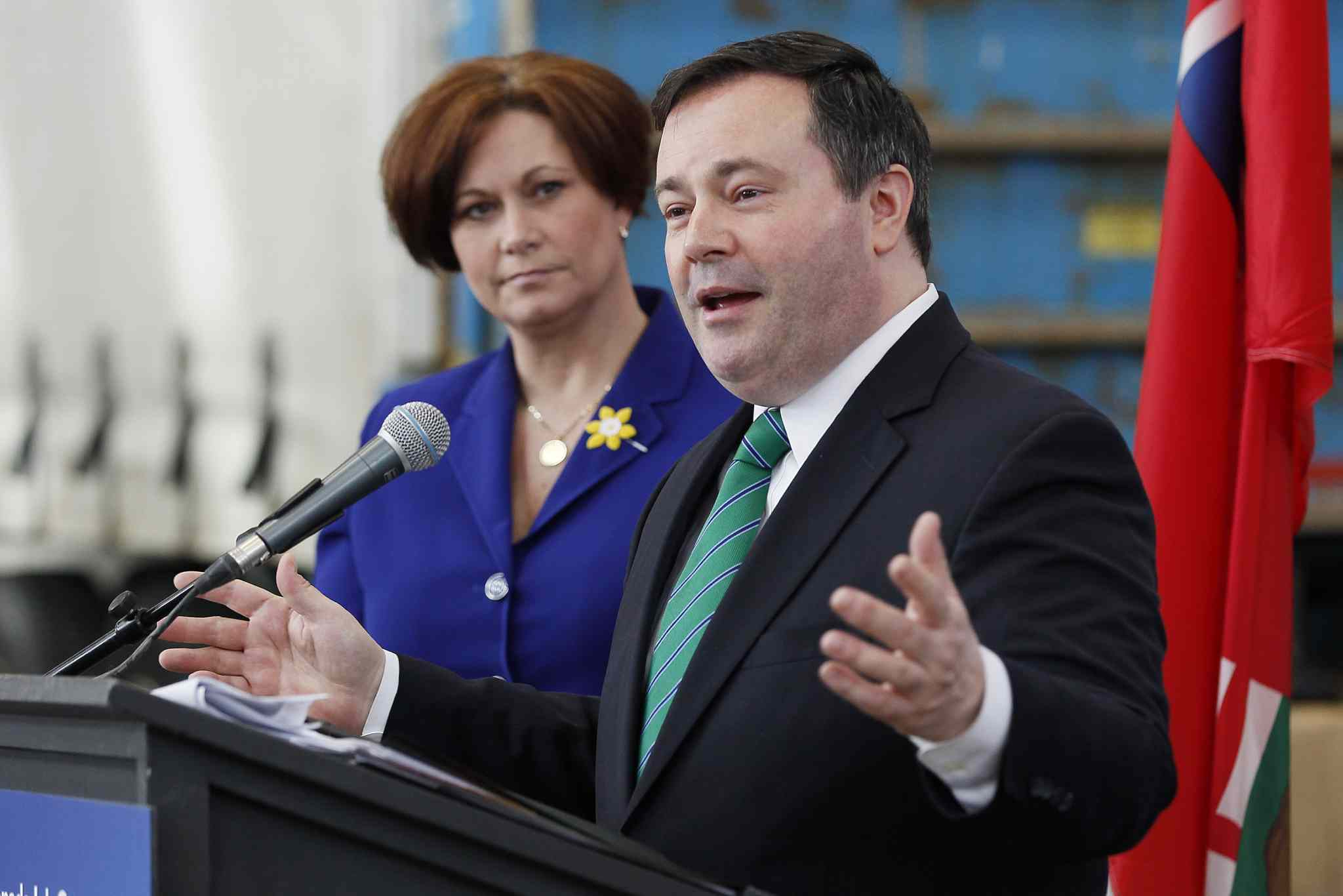 Jason Kenney, Minister of Employment and Social Development, and  Theresa Oswald, Manitoba Minister of Jobs and the Economy during the Canada Job Grant press conference in Winnipeg today.