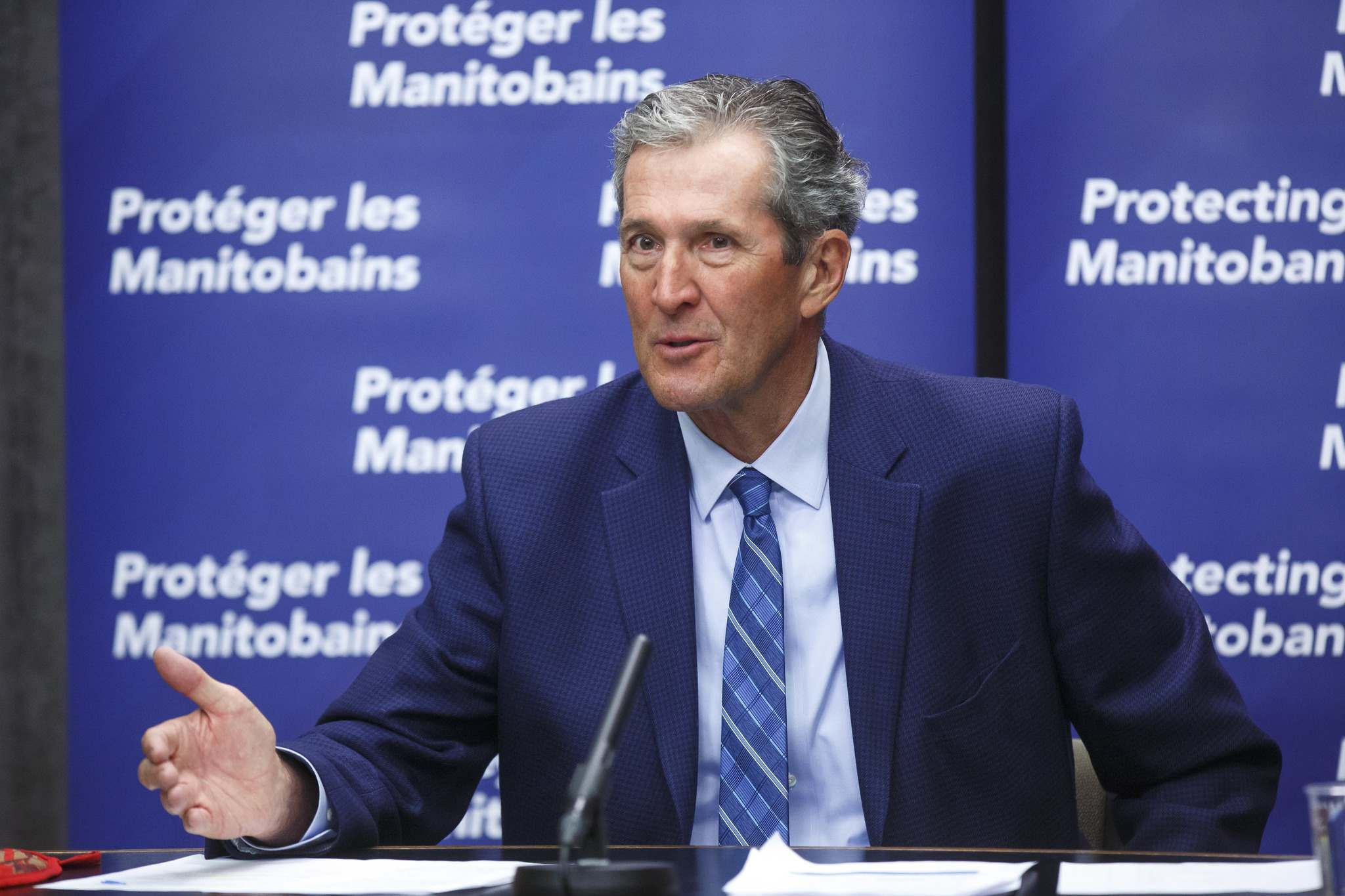 Premier Brian Pallister announces that his government is launching a new Manitoba Pandemic Sick Leave program that will provide direct financial assistance to help fill gaps between federal programming and current provincial employment standards for paid sick leave, during a press conference at the Manitoba Legislative building Friday morning. (Winnipeg Free Press)</p></p></p>