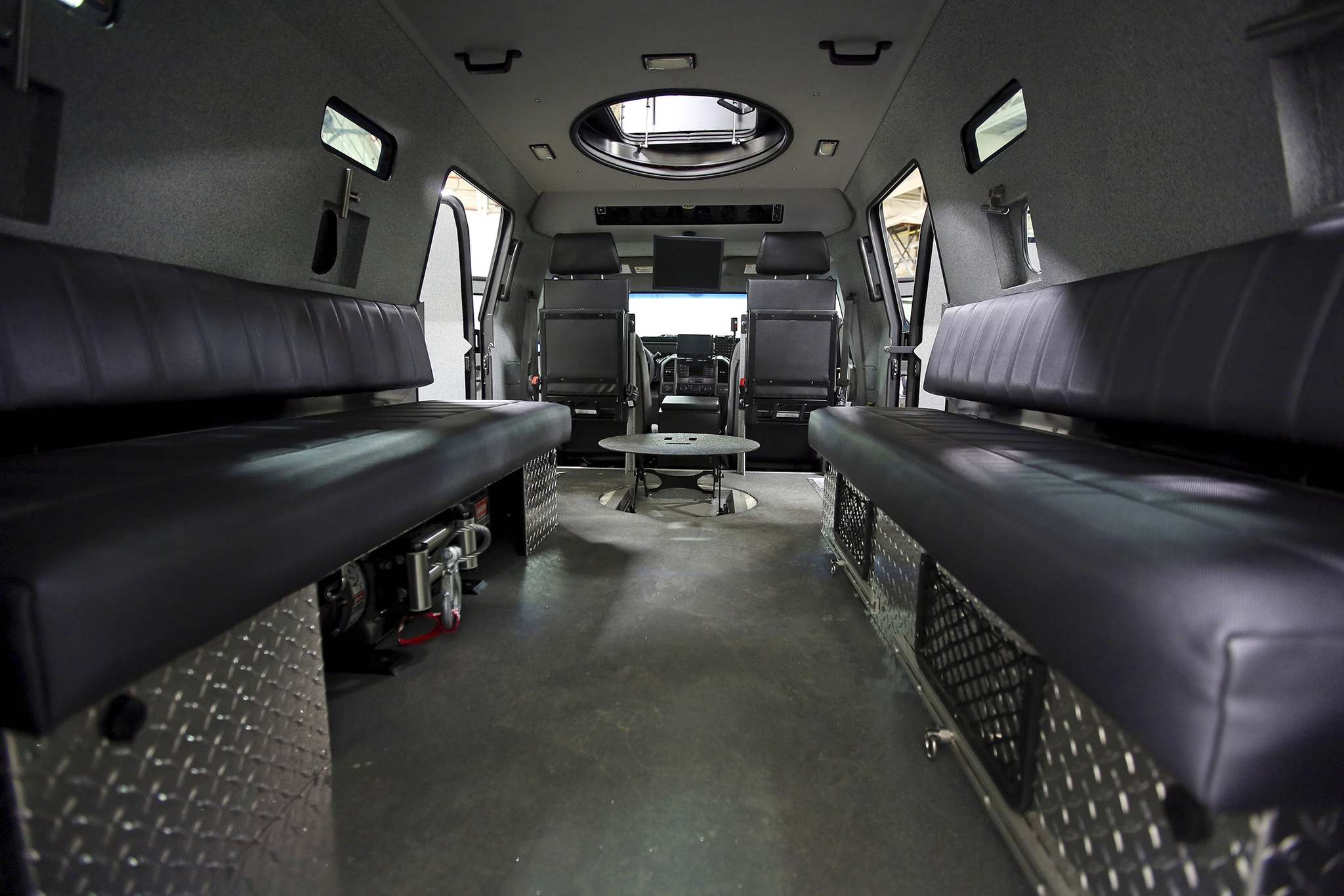 An interior view of Brandon Police Service's armoured rescue vehicle on display during the vehicle's unveiling last year. (File)