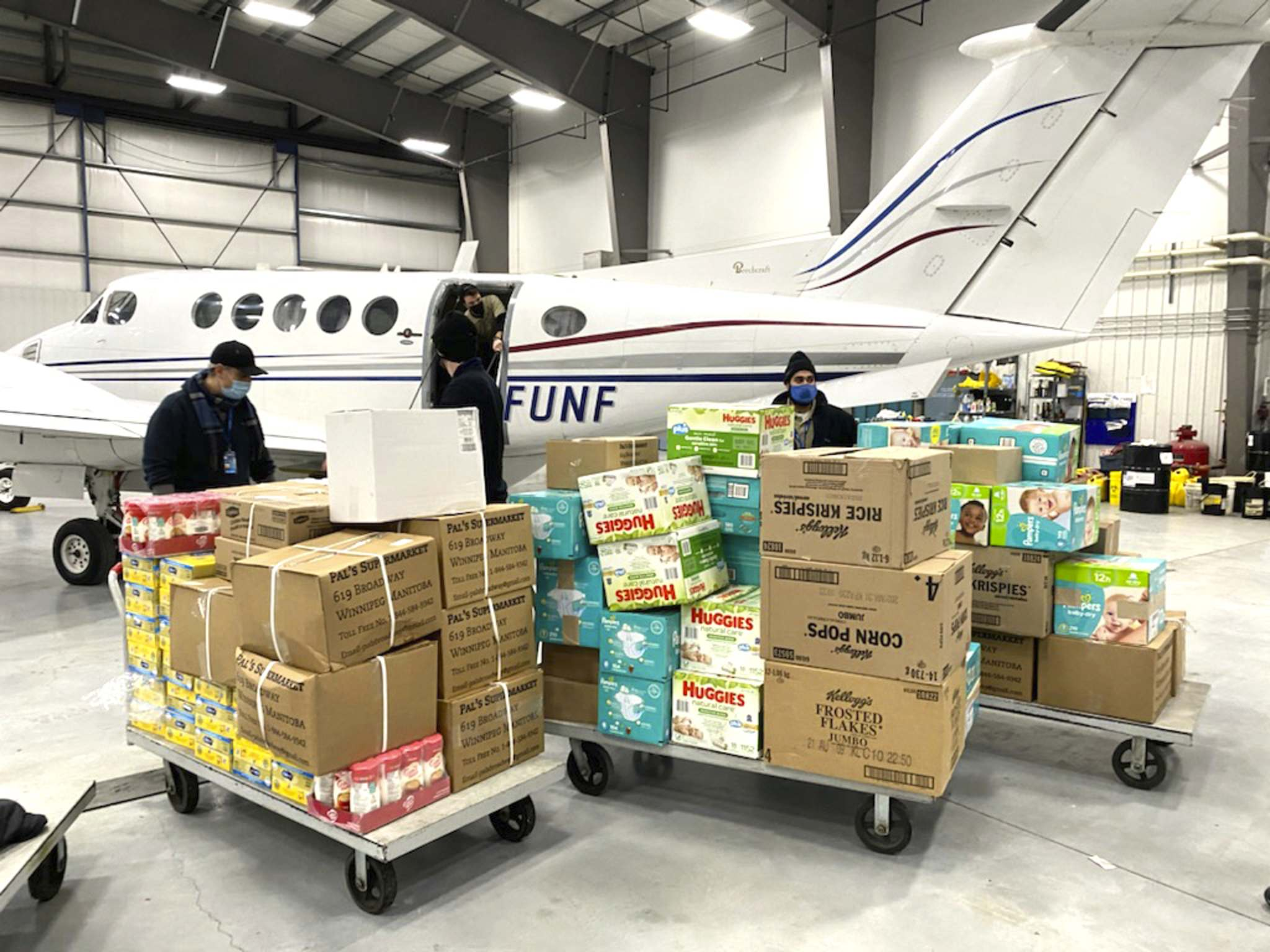 Gifts are seen being loaded up for northern children as part of an ongoing toy drive. (Submitted)</p></p>