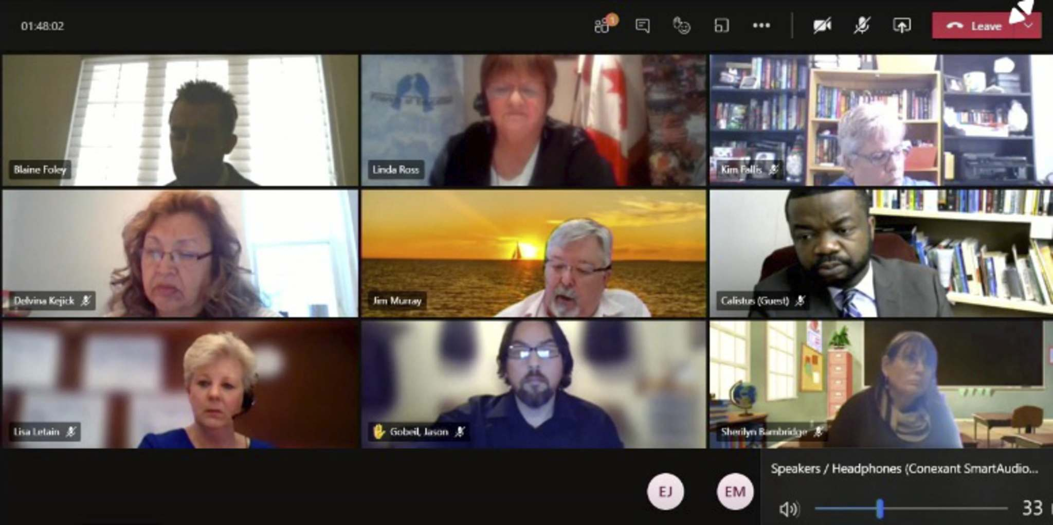 Members of the Brandon School Division's board of trustees meet up for their 2021-22 preliminary budget presentation, which was streamed online Monday morning. (Screenshot)</p></p>