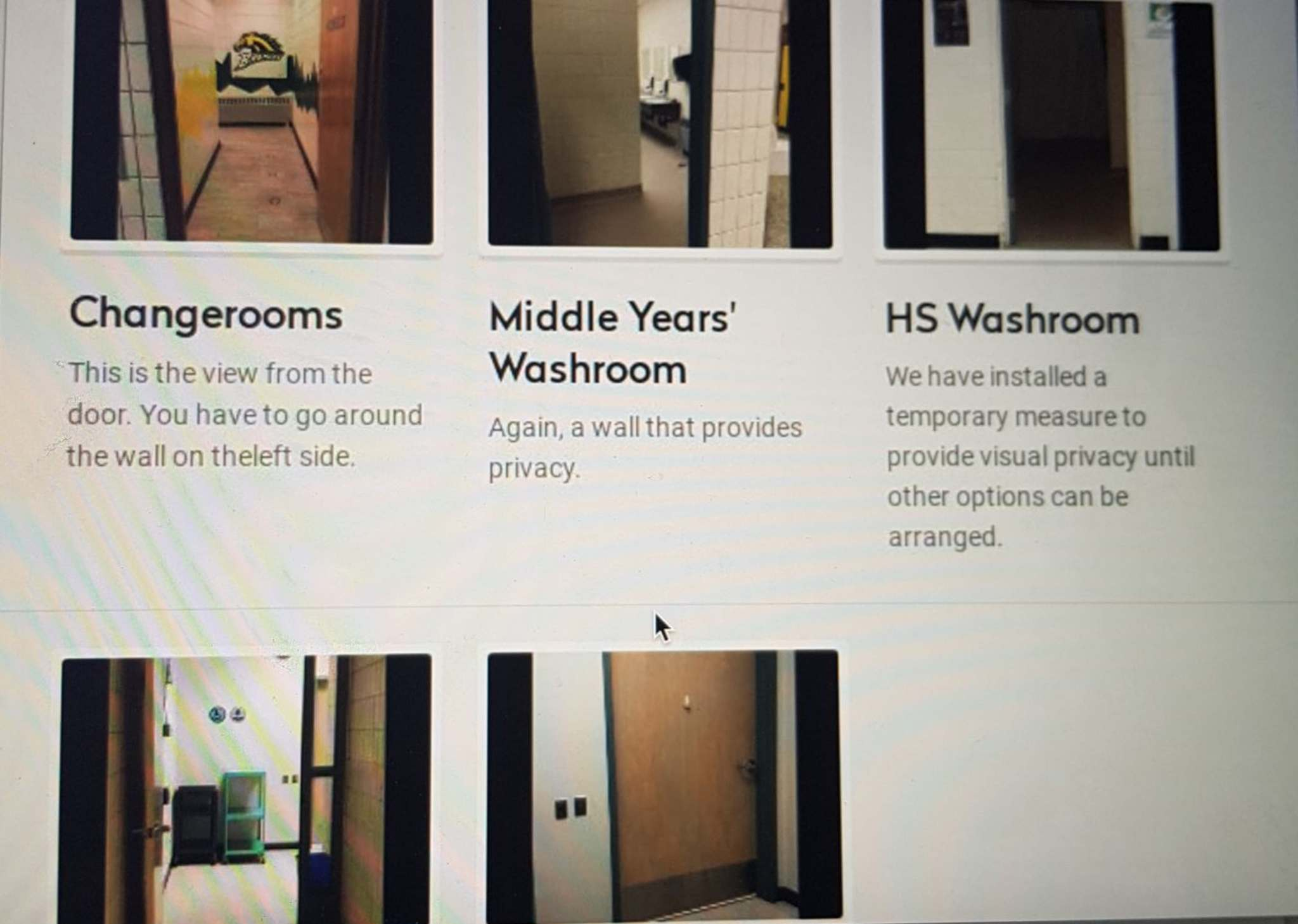 A screenshot from a newsletter that was sent out to Boissevain School parents last February, explaining why the administration decided to bolt open select bathroom and change room doors within the school. In this section of the newsletter, a school official is explaining how student privacy is being maintained under this new policy. (Submitted)</p></p>