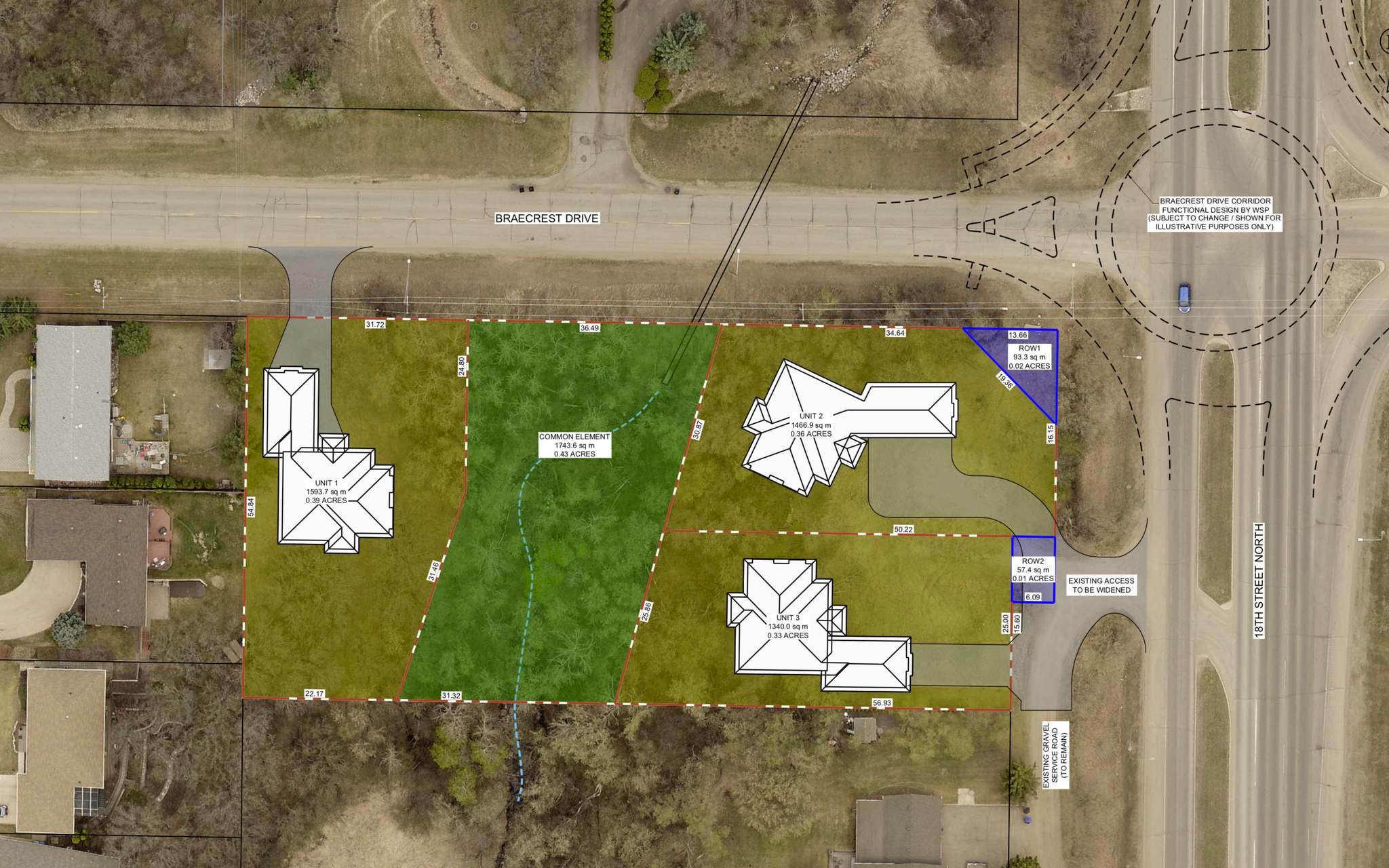 This updated map included in the agenda for Tuesday's Brandon City Council meeting shows what the development at the corner of 18th Street North and Braecrest Drive would look like with the number of units reduced from five to three. (Screenshot)</p>