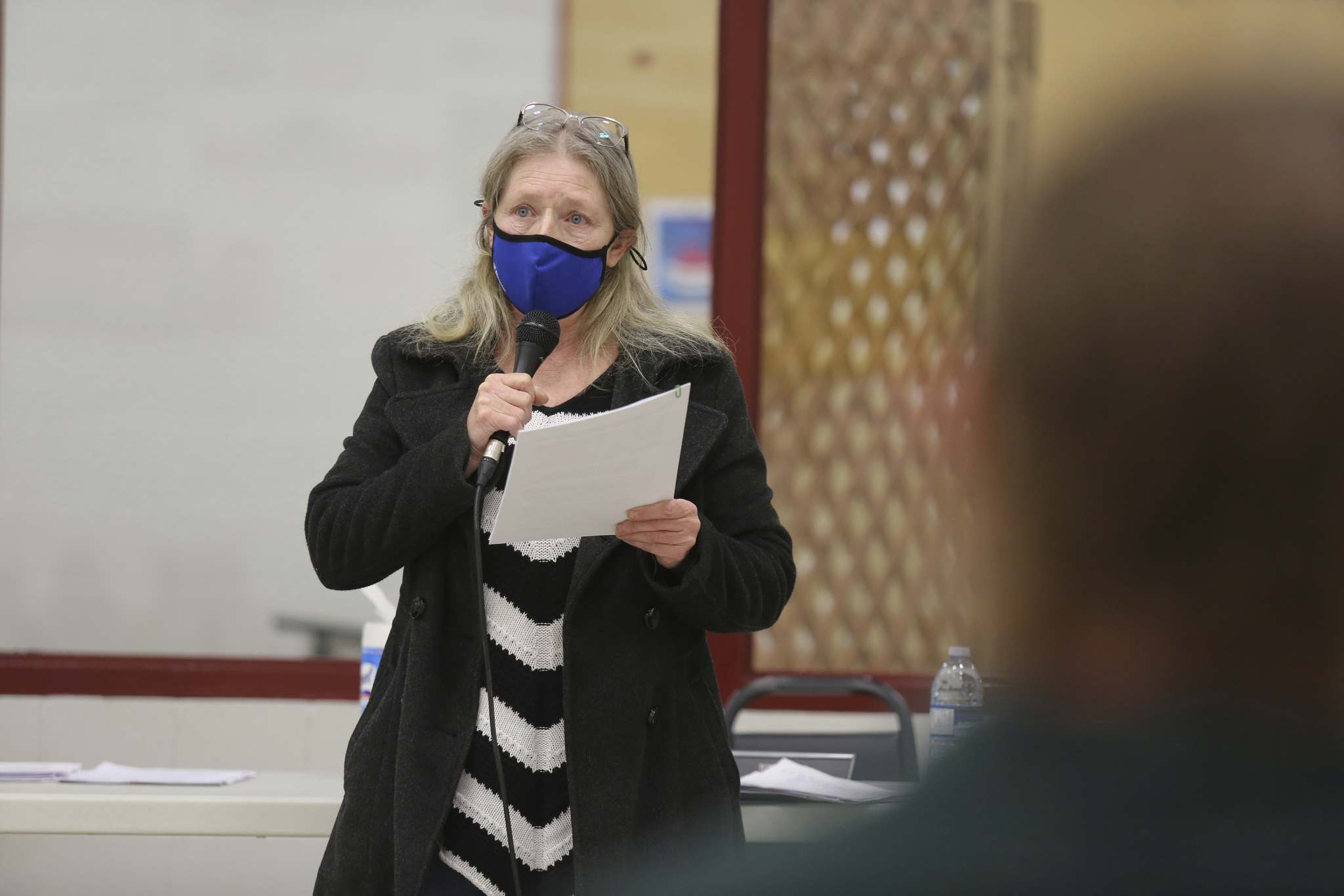 Ruth Pryzner voices her concerns about Western Asphalt Products' application to set up aggregate mining operations south of Rivers during Tuesday's public hearing at the Riverdale Community Centre. (Kyle Darbyson/The Brandon Sun)</p></p>