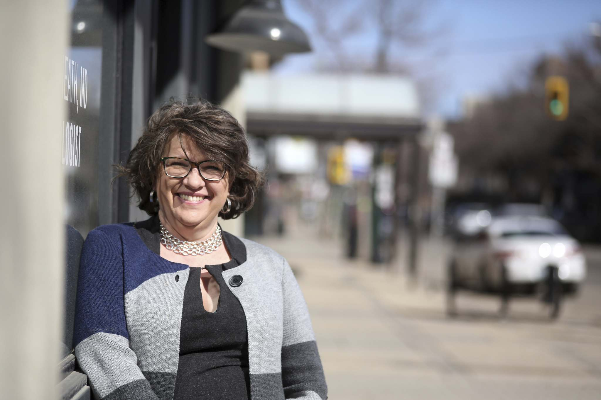 Rural Manitoba Economic Development Corporation CEO Margot Cathcart is seen in downtown Brandon on Friday. (Tyler Clarke/The Brandon Sun)</p>