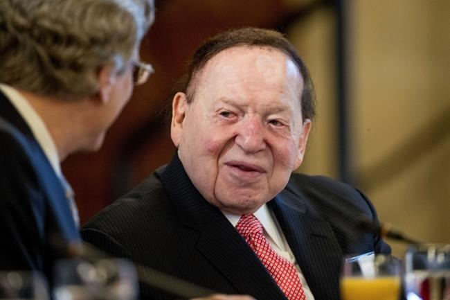 FILE - This Feb. 10, 2017 file photo, Chief Executive of Las Vegas Sands Corporation Sheldon Adelson shows at a business roundtable with Japanese Prime Minister Shinzo Abe at the U.S. Chamber of Commerce in Washington. Adelson, the billionaire mogul and power broker who built a casino empire spanning from Las Vegas to China and became a singular force in domestic and international politics has died after a long illness, his wife said Tuesday, Jan. 12, 2021. (AP Photo/Andrew Harnik, File)