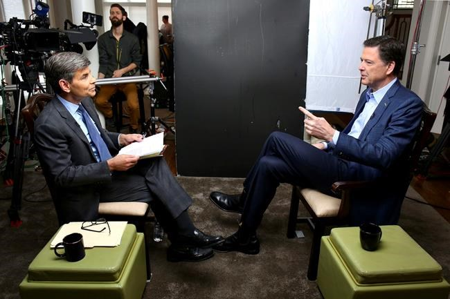 """In this image released by ABC News, correspondent George Stephanopoulos, left, appears with former FBI director James Comey for a taped interview that will air during a primetime """"20/20"""" special on Sunday, April 15, 2018 on the ABC Television Network. Comey's book, """"A Higher Loyalty: Truth, Lies, and Leadership,"""" will be released on Tuesday. (Ralph Alswang/ABC via AP)"""