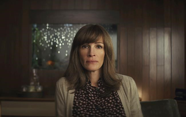 """This image released by Amazon shows Julia Roberts in a scene from """"Homecoming."""" On Thursday, Dec. 6, 2018, """"Homecoming"""" was nominated for a Golden Globe award for best TV drama series. Roberts was also nominated for best actress in a drama series. The 76th Golden Globe Awards will be held on Sunday, Jan. 6. (Hilary B Gayle/Amazon via AP)"""