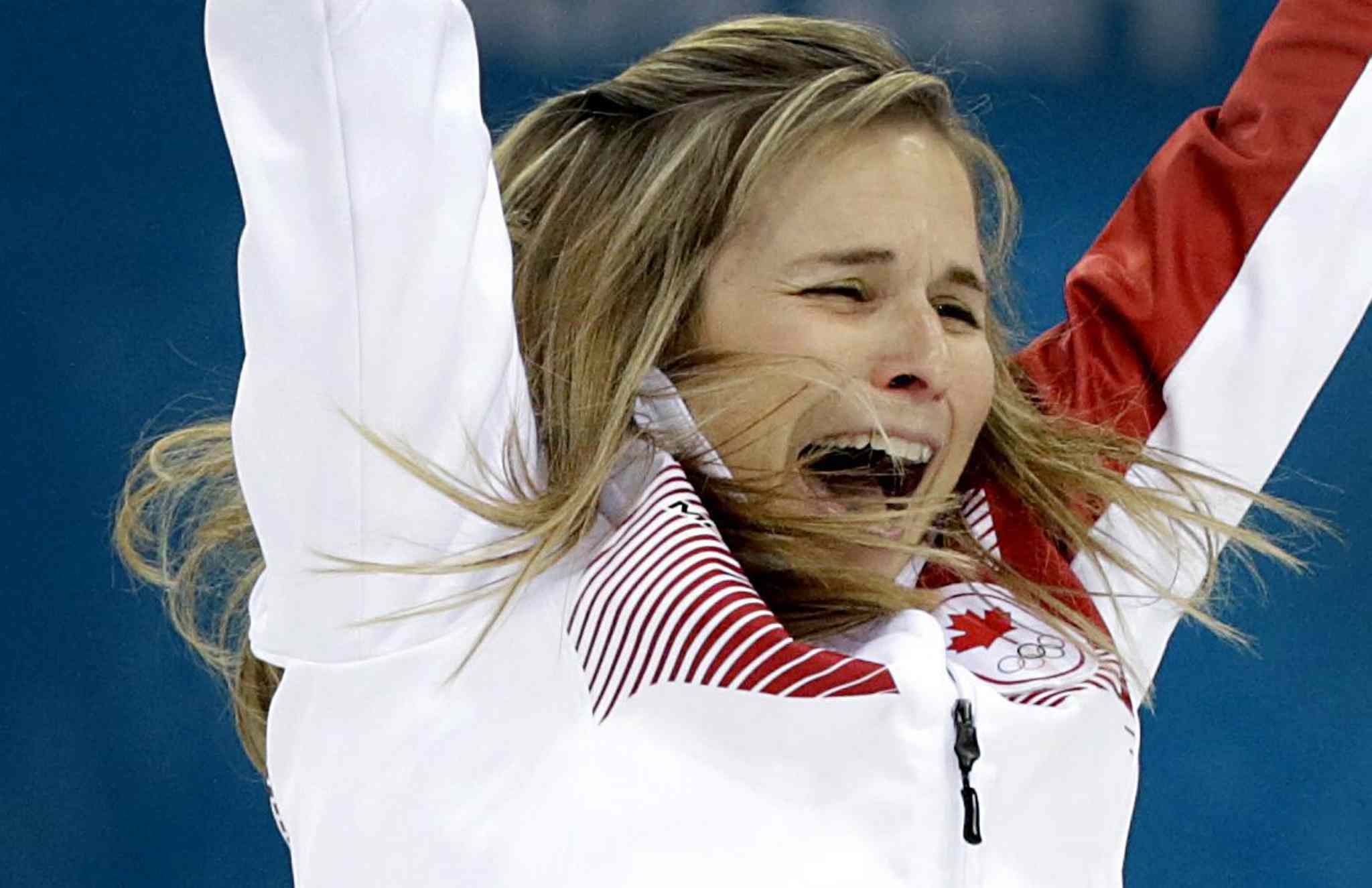 Canada's skip Jennifer Jones celebrates after winning the women's curling gold medal game against Sweden at the 2014 Winter Olympics on Thursday in Sochi, Russia.