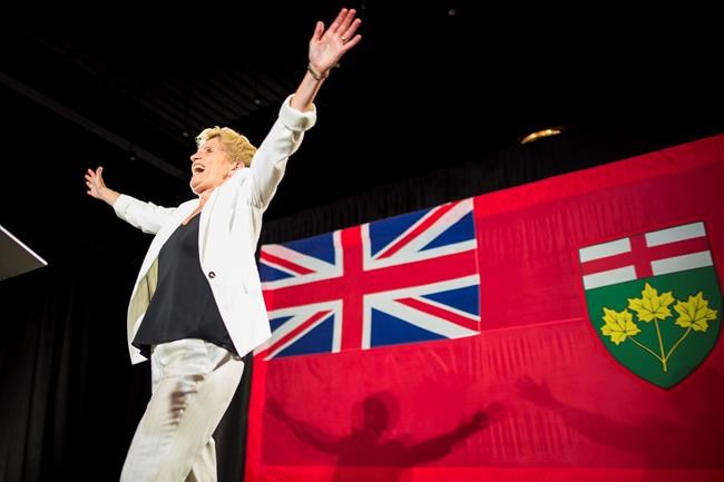 Former Ontario Premier Kathleen Wynne acknowledges her supporters following the election results in Toronto on Thursday