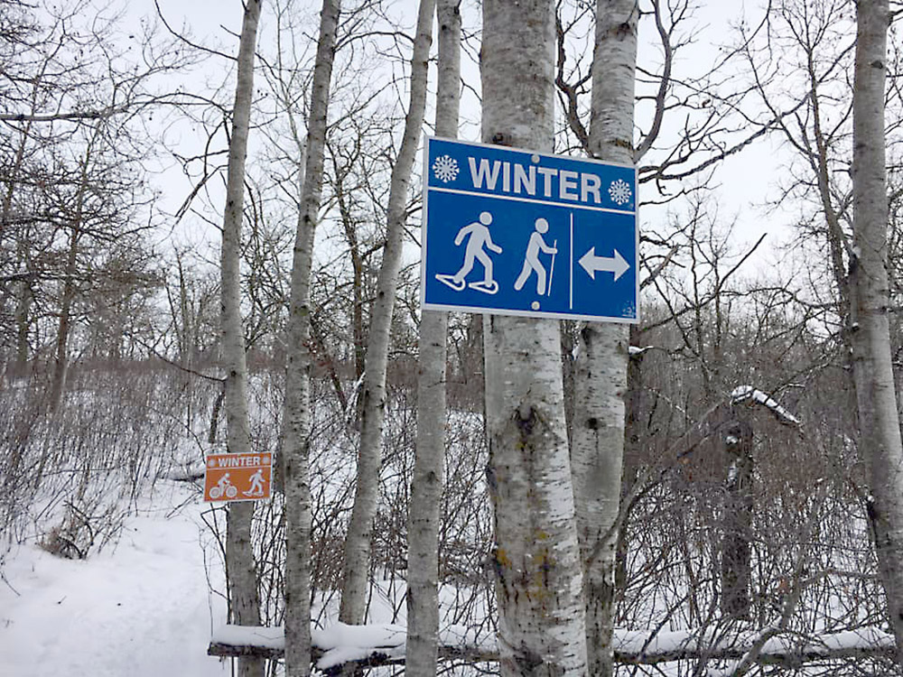 Some of the signs the Prairie Mountain Cycling Association installed on trails near Minnedosa. (Facebook)