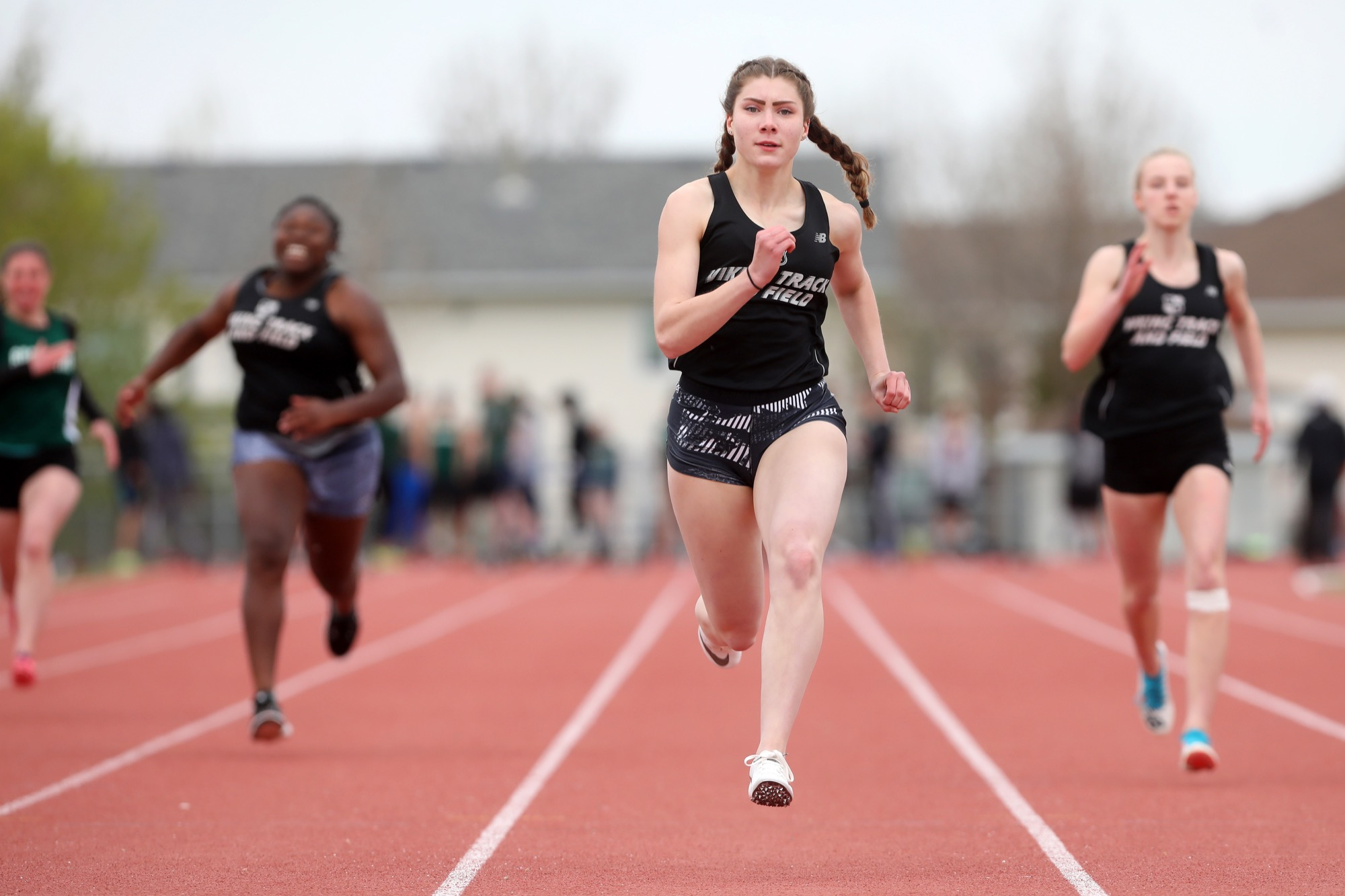Daniele Dyck of the Vincent Massey Vikings runs in her varsity girls 100-metre heat at the Brandon high school track and field championships at UCT Stadium on Wednesday.
