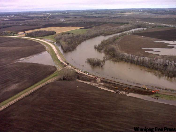 The controlled release of the Assiniboine River near the Hoop and Holler Bend will likely occur at 8 a.m. tomorrow morning, provincial officials said this morning. The cut at Provincial Road 331 at Hoop and Holler Bend, southeast of Portage la Prairie, will allow part of the Assiniboine River's flow into the Elm River and on to the La Salle watershed.