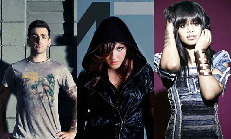 From left, Jacob Hoggard, Alyssa Reid, and Fefe Dobson of Artists Against.