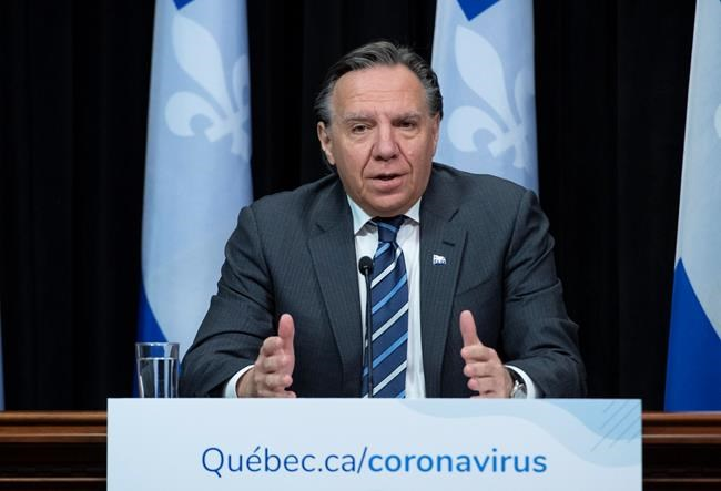 Quebec Premier Francois Legault speaks during a news conference on the COVID-19 pandemic, Wednesday, April 22, 2020 at the legislature in Quebec City. THE CANADIAN PRESS/Jacques Boissinot