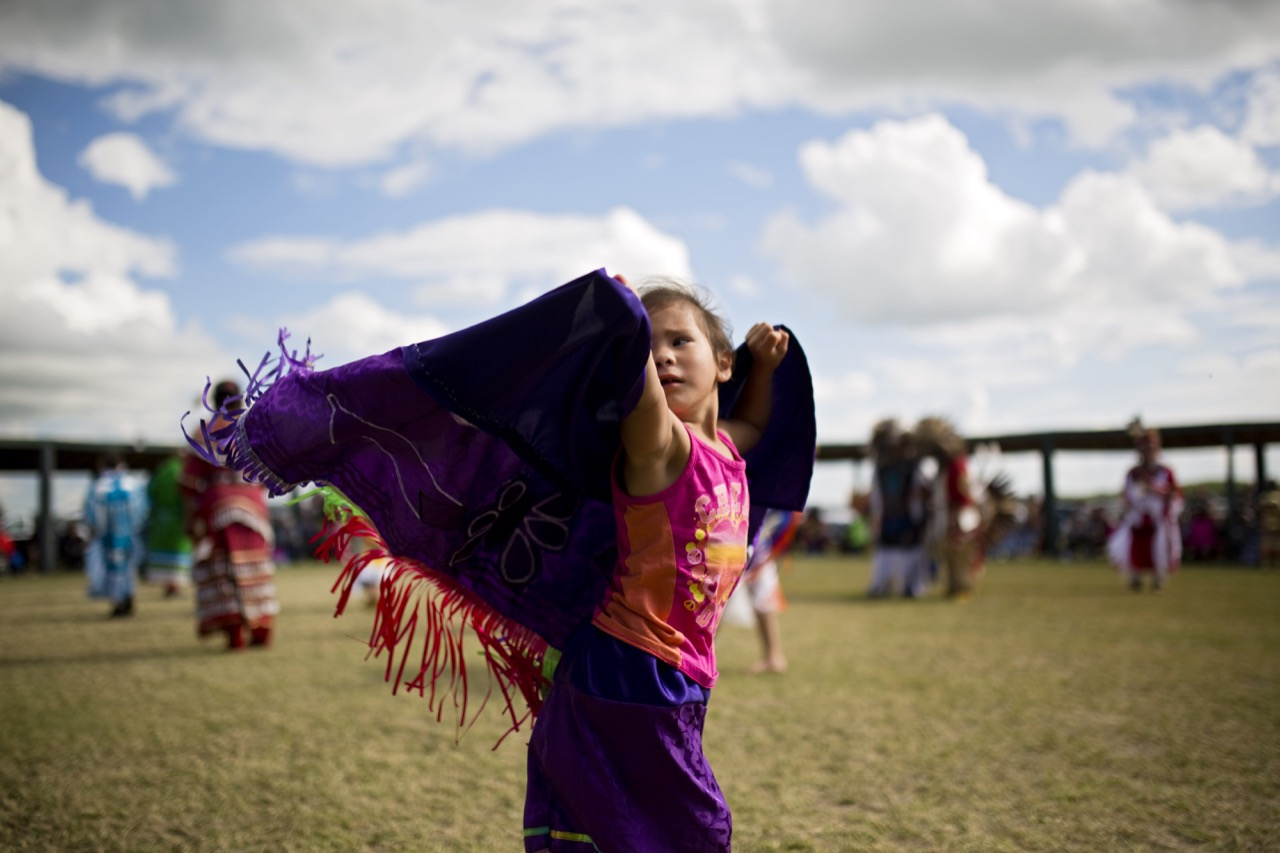 A young girl dances during the Rolling River First Nation powwow on Sunday afternoon. The three day powwow ran all weekend.  (Tim Smith / Brandon Sun)