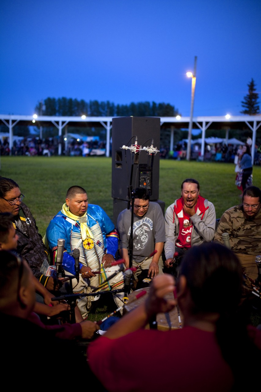 Members of the Dakota Hotain singers perform at the 2016 Sioux Valley Dakota Nation Pow wow on Saturday evening.